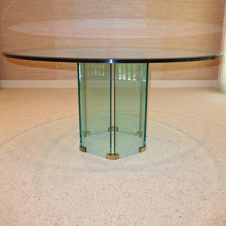 Pace Collection Round Dining Table Hexagonal Glass and Brass Base 7