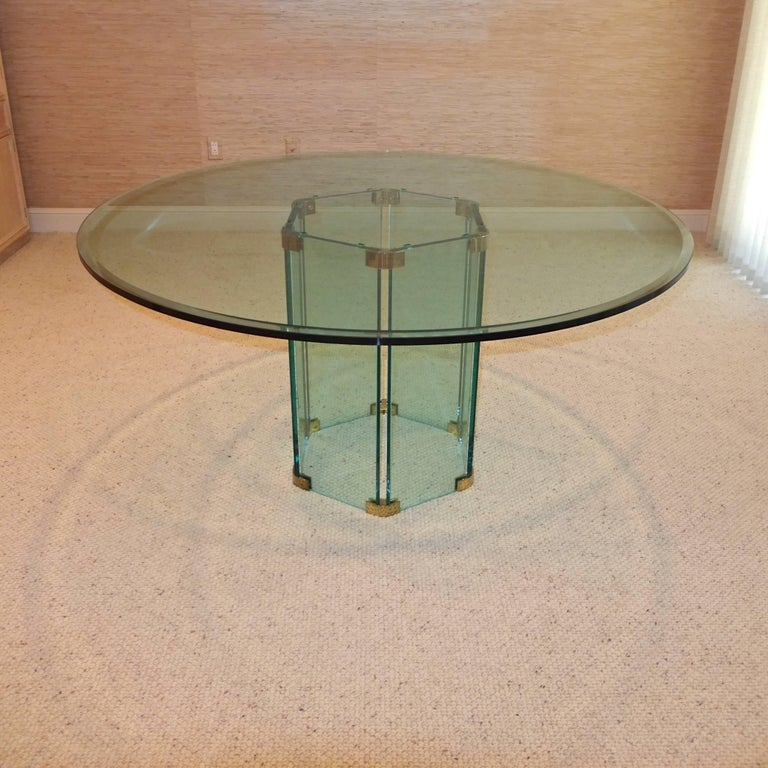 Pace Collection Round Dining Table Hexagonal Glass and Brass Base 6