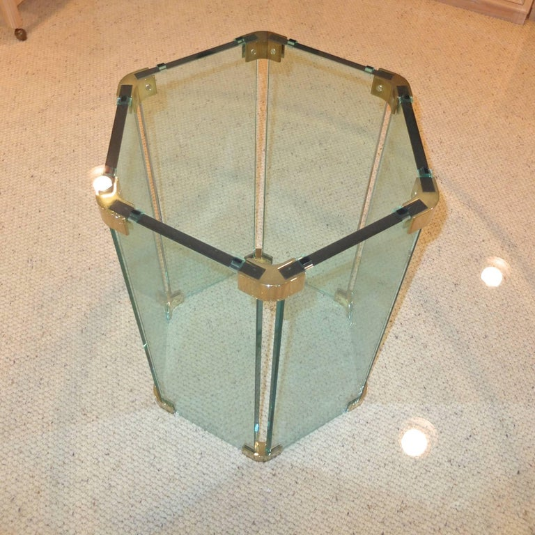 Pace Collection Round Dining Table Hexagonal Glass and Brass Base 5