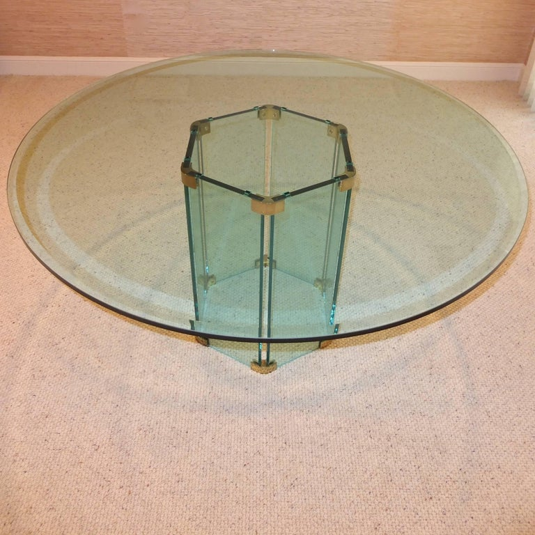 Pace Collection Round Dining Table Hexagonal Glass and Brass Base 4