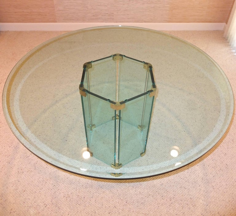 Pace Collection Round Dining Table Hexagonal Glass and Brass Base 2