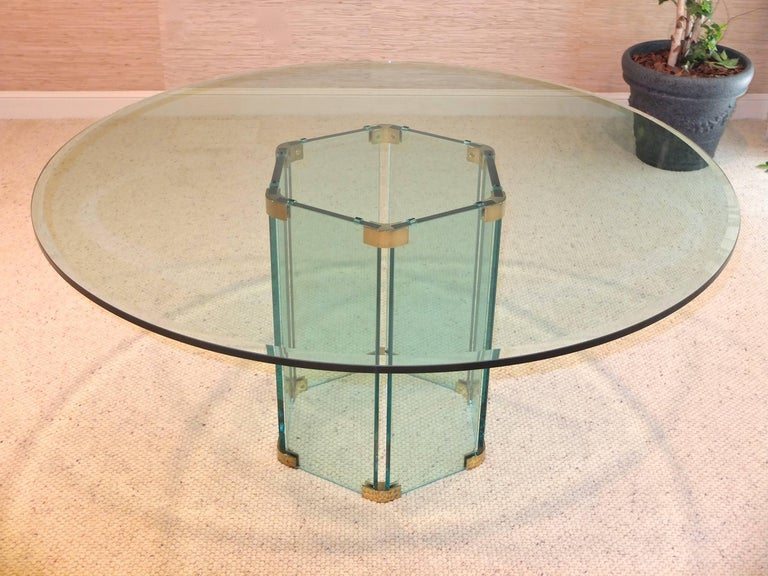 Pace Collection Round Dining Table Hexagonal Glass and Brass Base 8