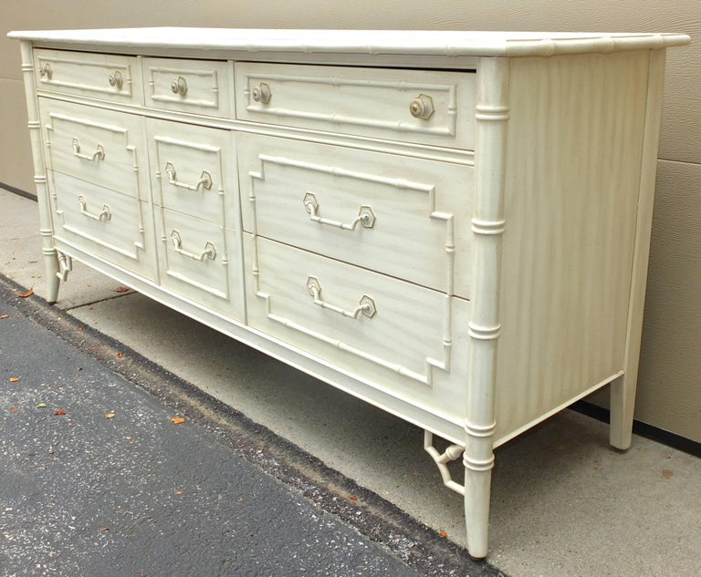 Mid-20th Century Faux Bamboo Queen Five-Piece Bedroom Set by Thomasville Allegro For Sale