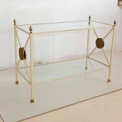 Directoire Style Enameled Iron Two Tier Table Étagère with Brass Embellishments
