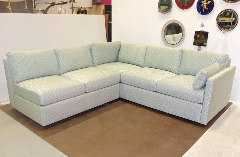 Milo Baughman Style Two-Piece Sectional Sofa L-Shaped 5