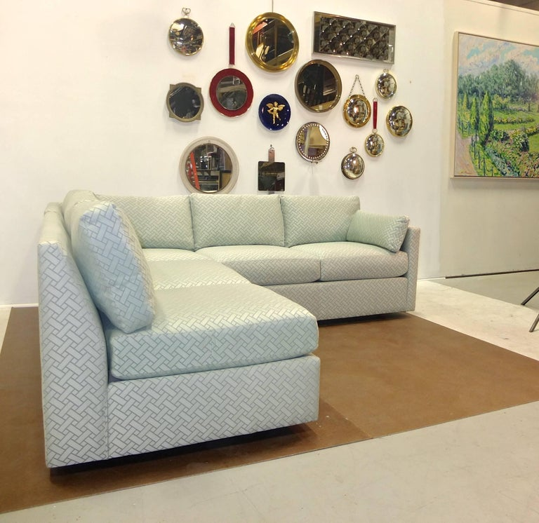 Milo Baughman Style Two-Piece Sectional Sofa L-Shaped 8