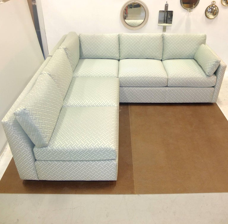 Milo Baughman Style Two-Piece Sectional Sofa L-Shaped 3