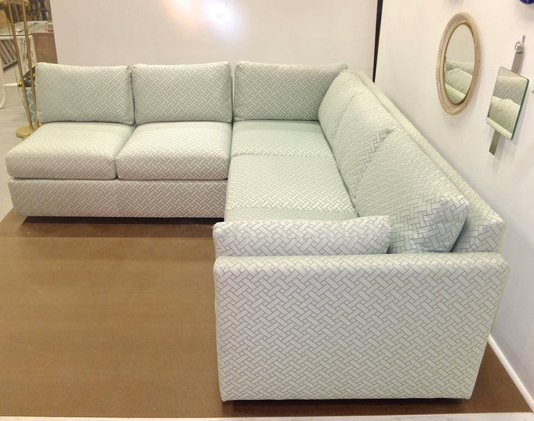 Milo Baughman Style Two-Piece Sectional Sofa L-Shaped 4