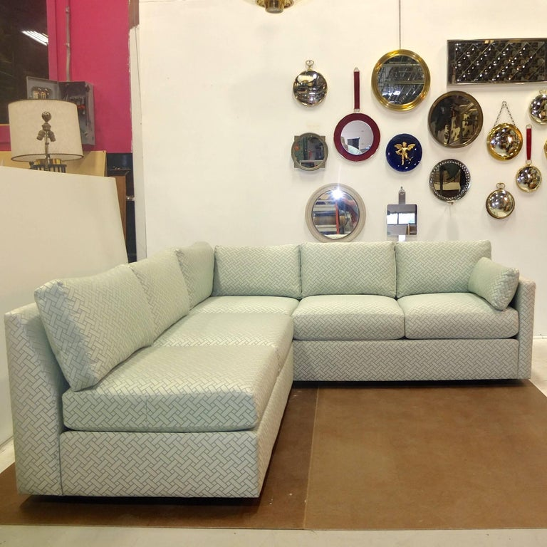 Milo Baughman Style Two-Piece Sectional Sofa L-Shaped 2