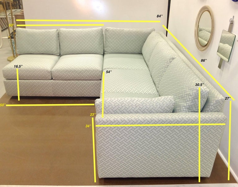 Milo Baughman Style Two-Piece Sectional Sofa L-Shaped 9