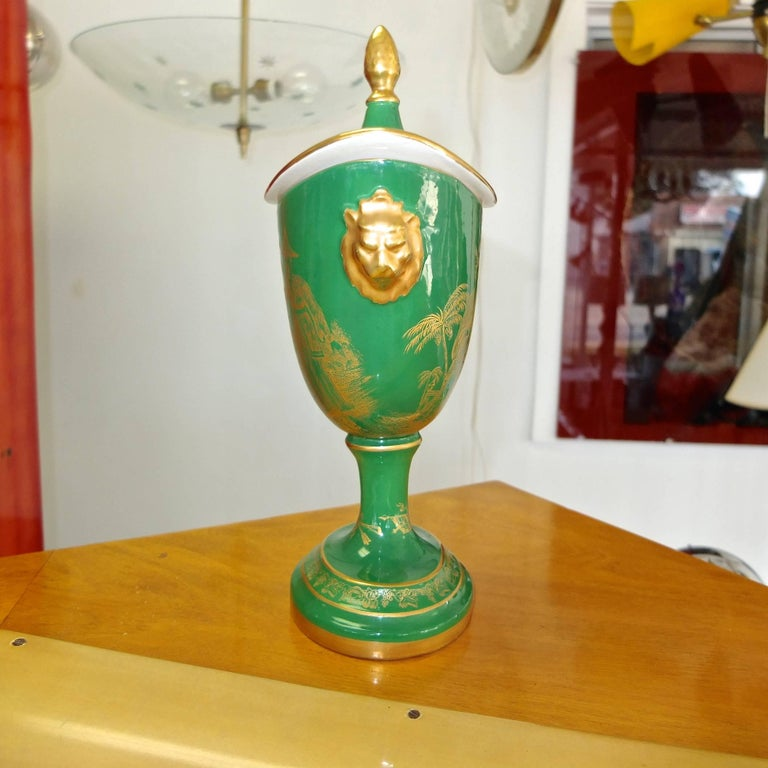 Mottahedeh Gold on Green Lidded Cachepot 4