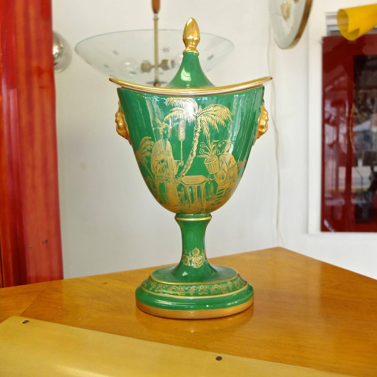 Mottahedeh Gold on Green Lidded Cachepot 6