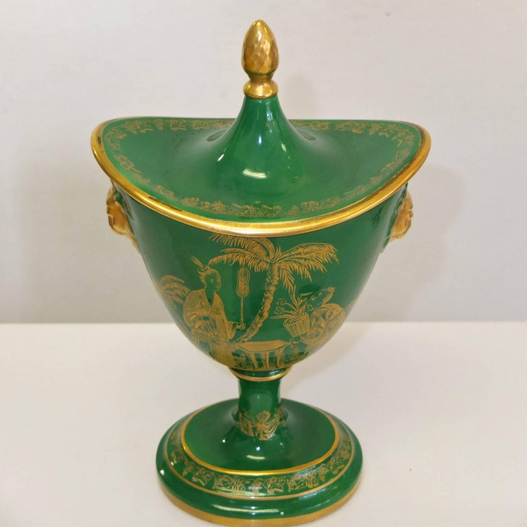 Mottahedeh Gold on Green Lidded Cachepot 5