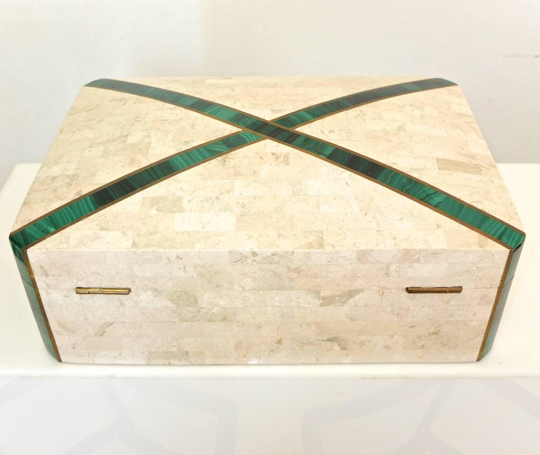 Philippine Large Tessellated Stone Box with Brass and Malachite For Sale