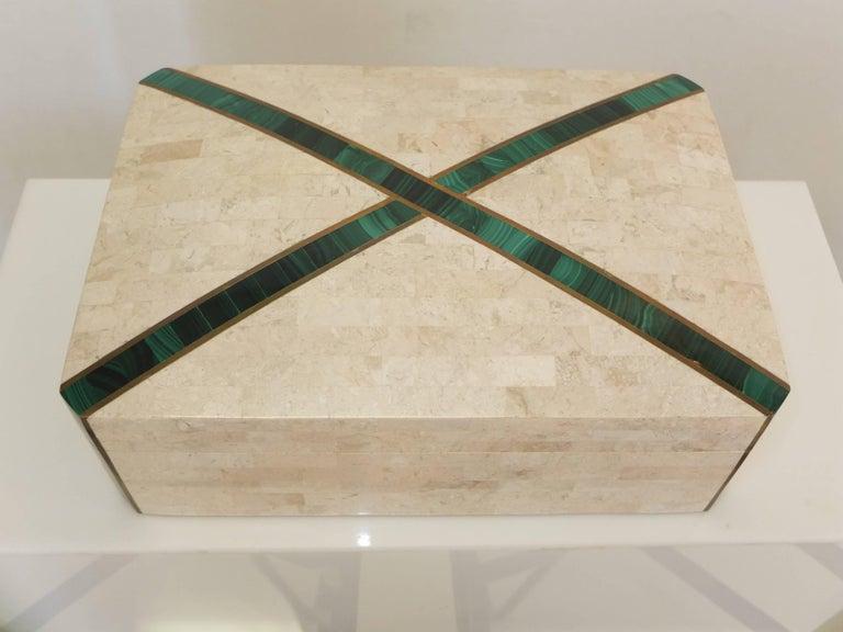 Large Tessellated Stone Box with Brass and Malachite 8