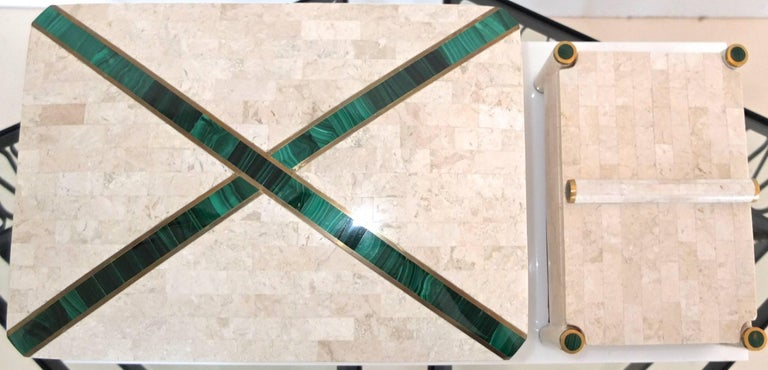 Modern Large Tessellated Stone Box with Brass and Malachite For Sale