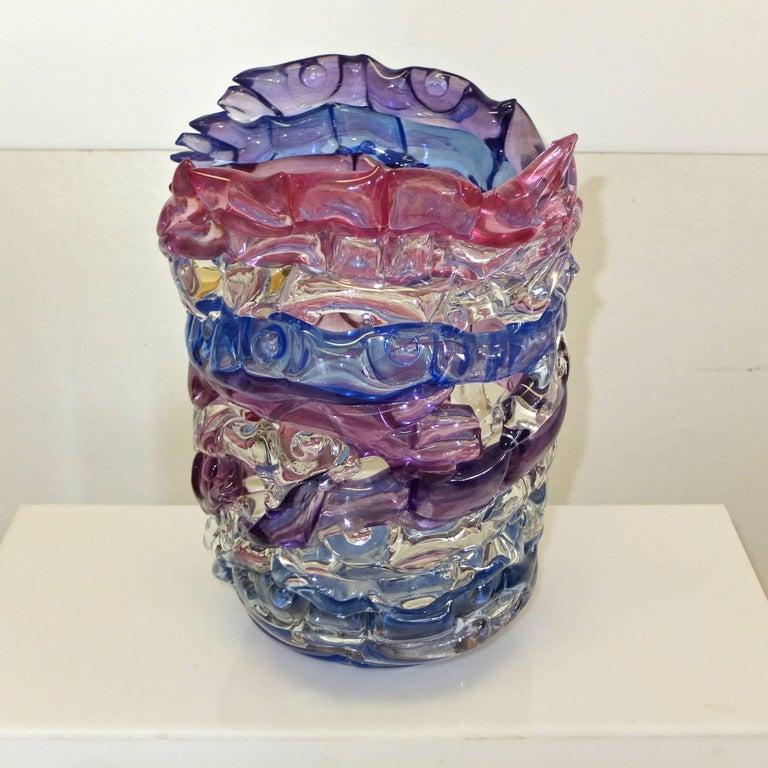 "Tom Philabaum Art Glass Vase from ""Handbuilt"" Series, 1987 6"