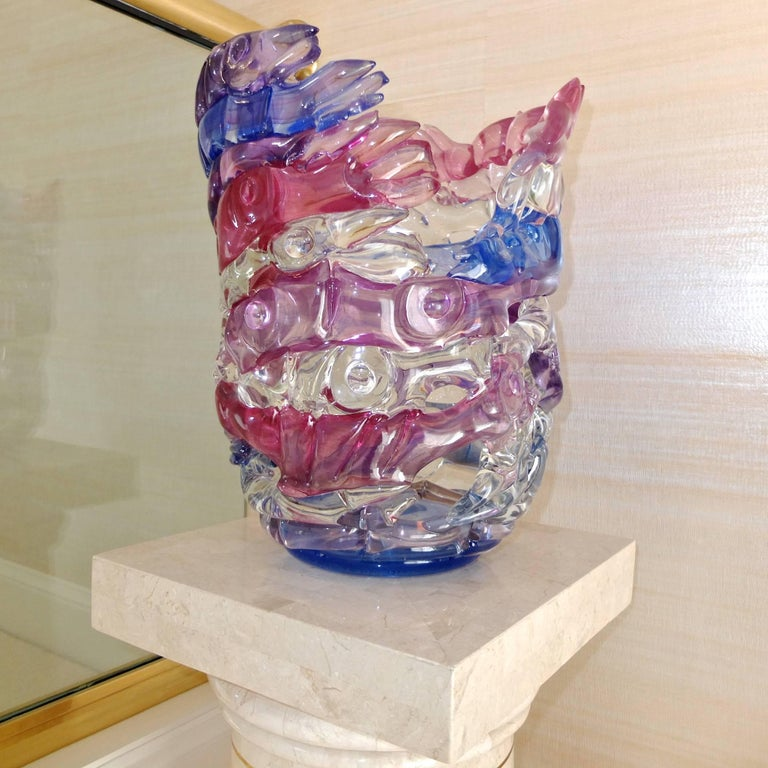"Art glass vase by Tom Philabaum from his ""Handbuilt"" series, circa 1987.