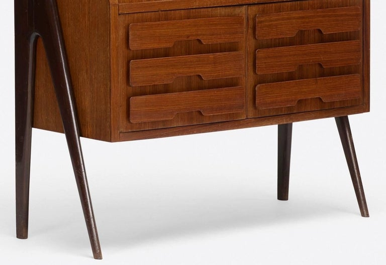 Rosewood Ico Parisi Attributed Bar Cabinet Secretary For Sale