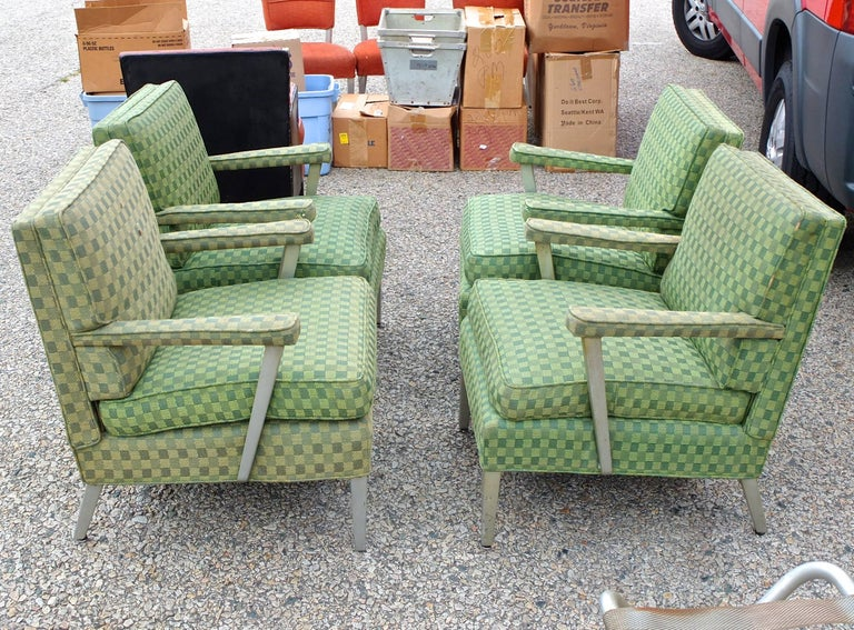 Set of Four SS United States First Class Cabin Upholstered Arm Chairs 2