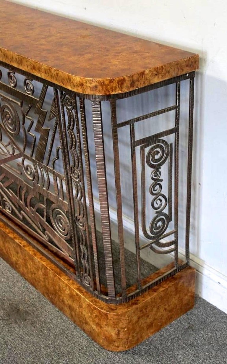 Art Deco Forged Steel Console Table with Ocean Liner Motif 4
