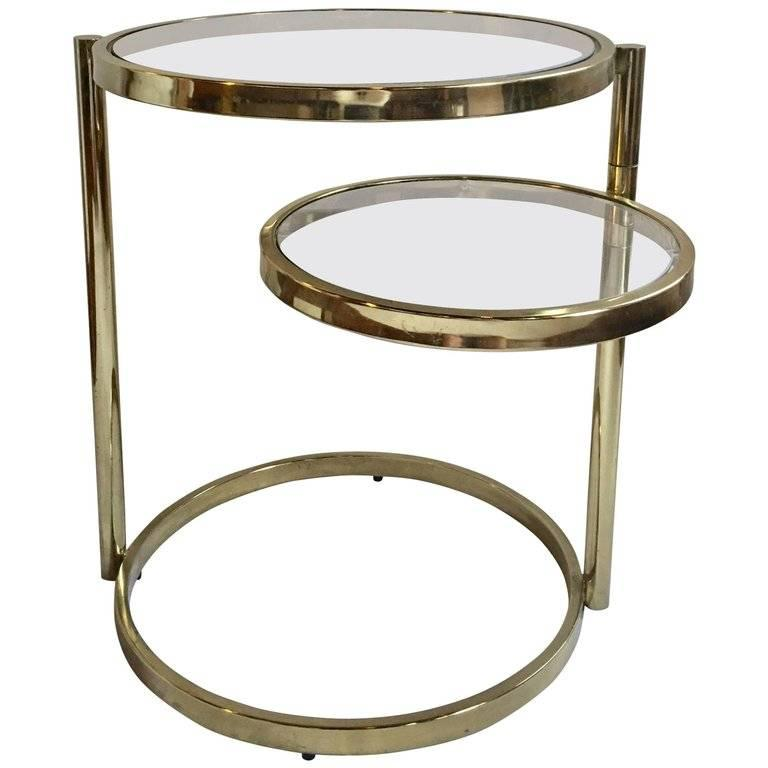 Plated 'DIA' Design Institute of America Brass Swivel Ring Table For Sale