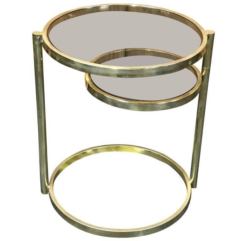 'DIA' Design Institute of America Brass Swivel Ring Table In Good Condition For Sale In Hingham, MA