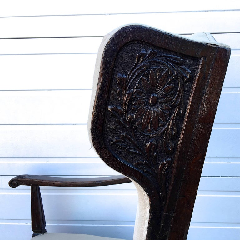 Carved 18th Century Italian Wing Chair For Sale