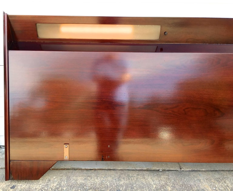 Midcentury Mahogany Illuminated Headboard King-Size 5