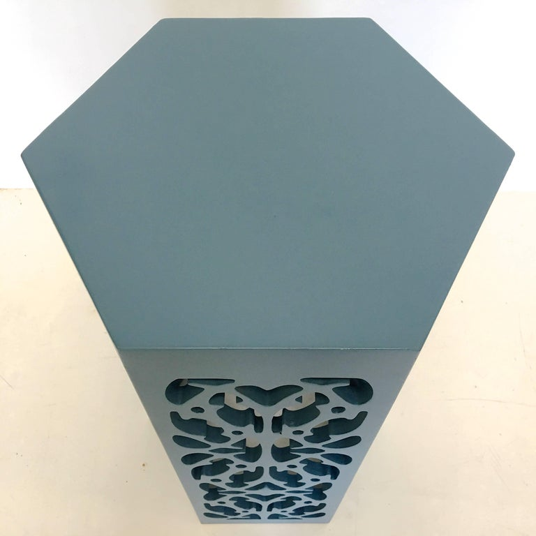 Lacquered Harvey Probber Hexagonal Table with Fretwork For Sale