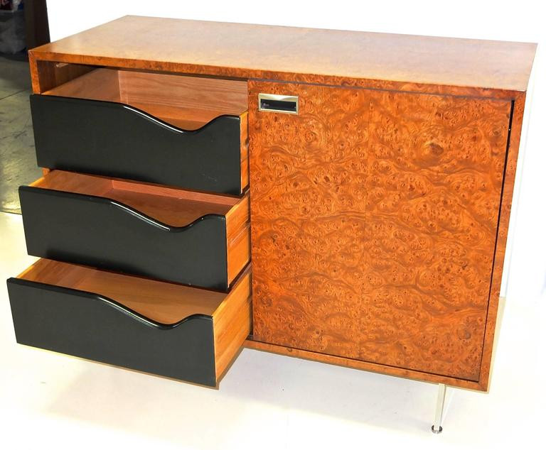 Aluminum Harvey Probber Olive Burl Cabinet of Drawers For Sale