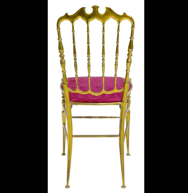 Hollywood Regency Pair of Solid Brass Chiavari Chairs For Sale