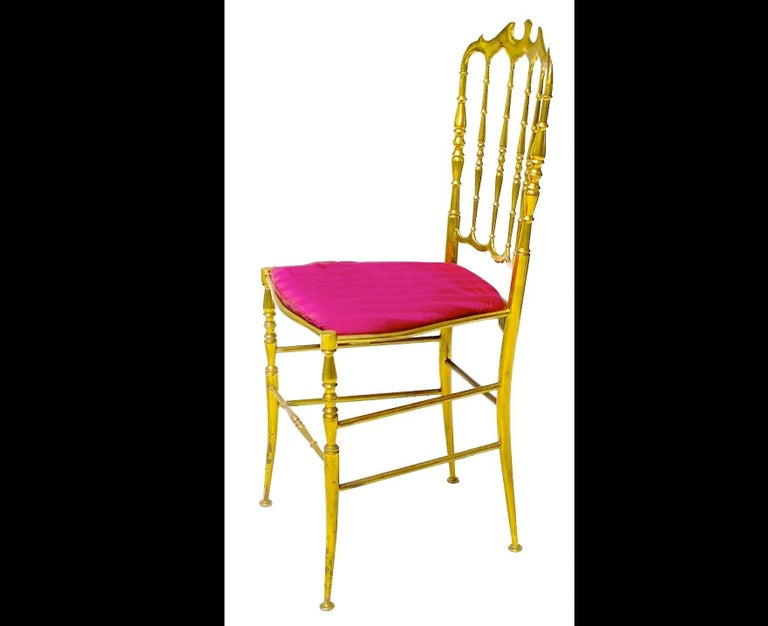 Italian Pair of Solid Brass Chiavari Chairs For Sale