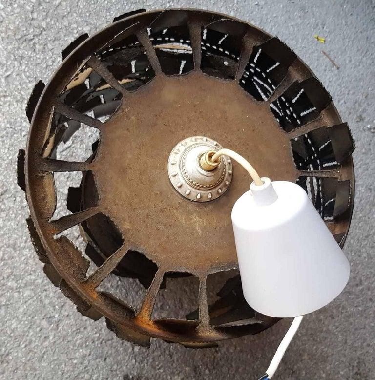 Mid-Century Modern Svend Aage Holm-Sörensen Brutalist Torch Cut Metal Chandelier For Sale