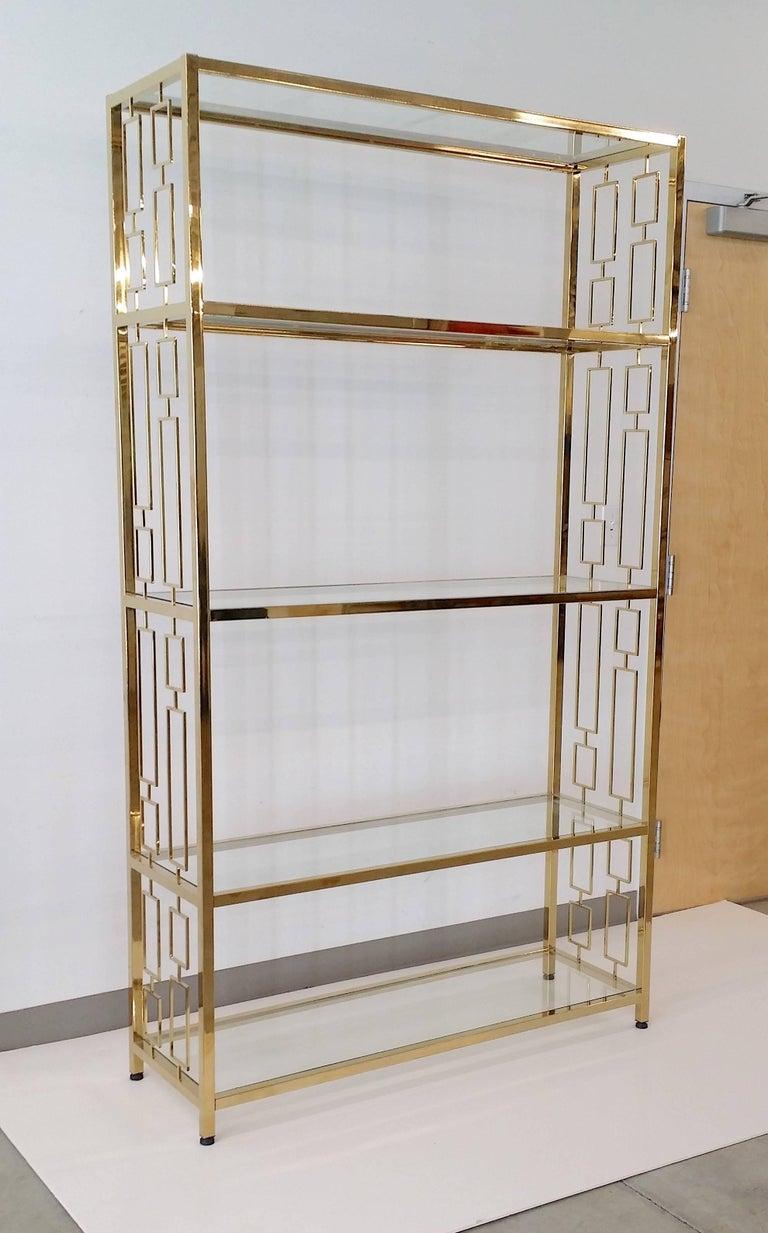 Nine Hollywood Regency Brass & Glass Geometric Etageres For Sale 3