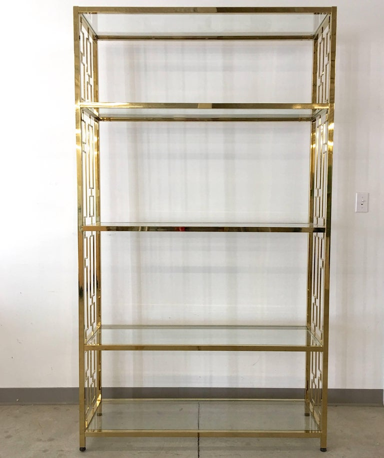 Plated Nine Hollywood Regency Brass & Glass Geometric Etageres For Sale