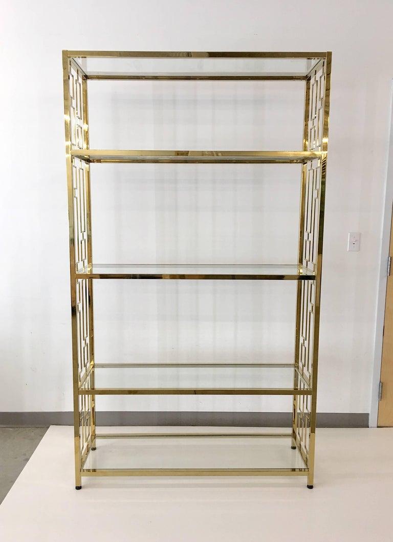 Nine Hollywood Regency Brass & Glass Geometric Etageres For Sale 2
