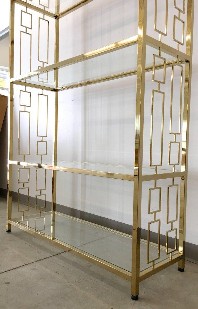 Nine Hollywood Regency Brass & Glass Geometric Etageres For Sale 1