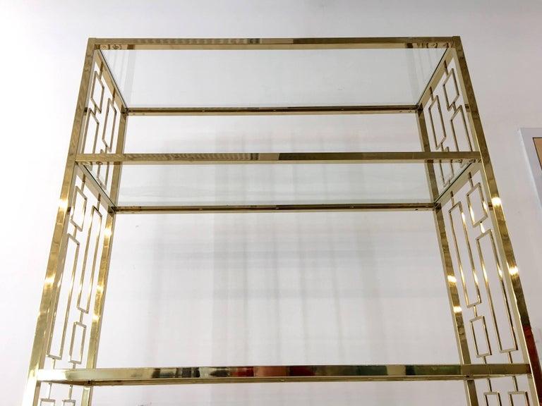 Nine Hollywood Regency Brass & Glass Geometric Etageres For Sale 4