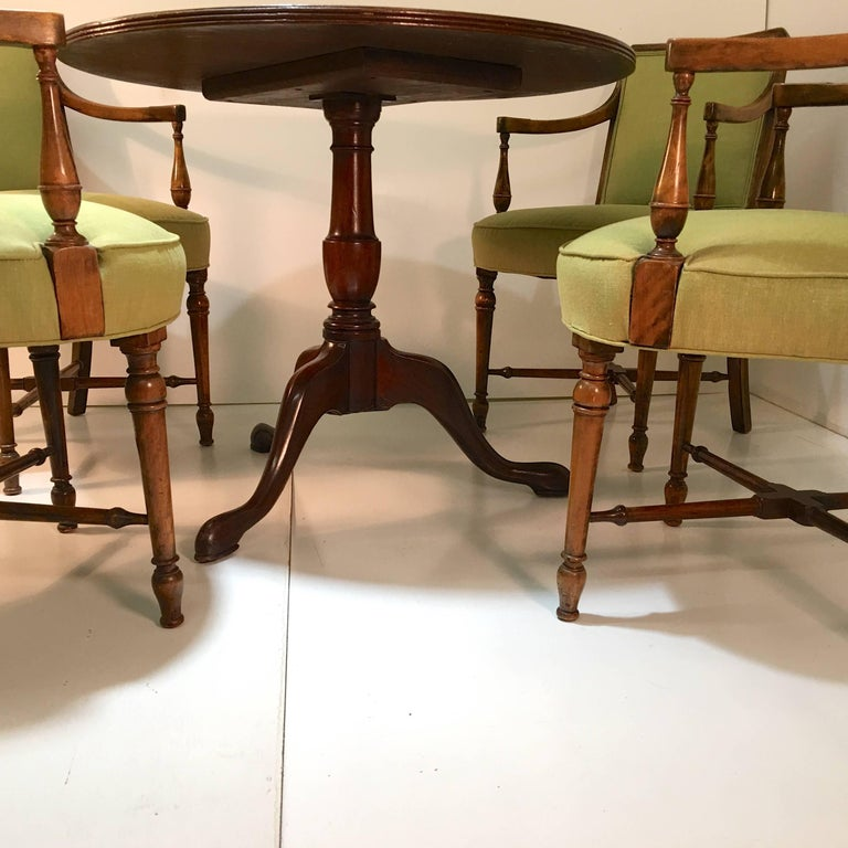 Mid-20th Century Gaming Table and Four Armchairs For Sale