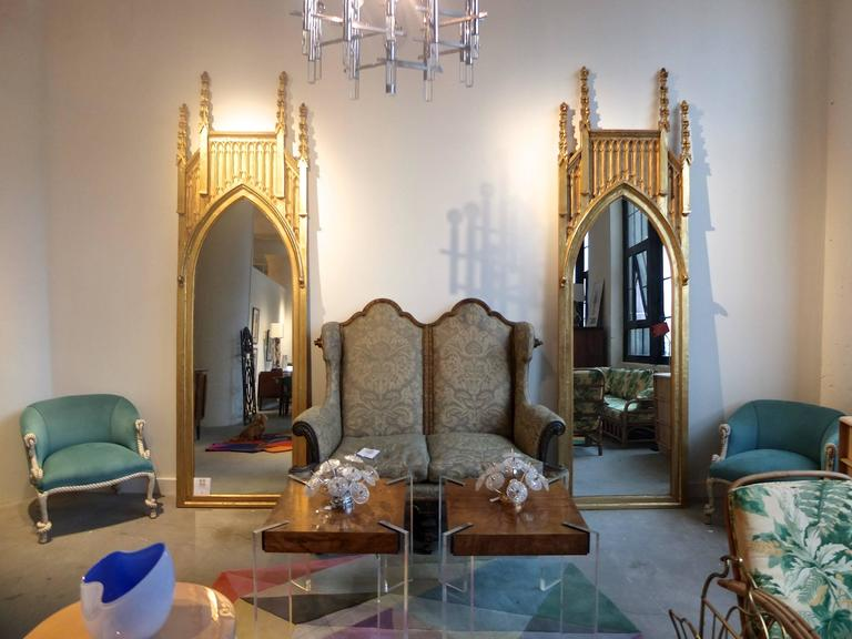 Truly extraordinary pair of 19th century English Gothic Revival architectural mirrors, nearly 10 feet tall. In the manner of Augustus Welby Northmore Pugin (aka God's Architect).  I found these in London nearly 20 years ago at an antique dealer on