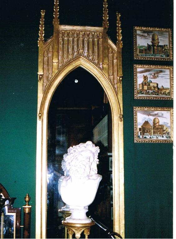 British Pair of Pugin Gothic Giltwood Mirrors ~9 feet tall For Sale