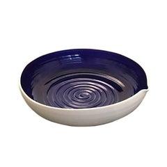 Large Hand-Thrown Israeli Artisan Shallow Studio Pottery Bowl