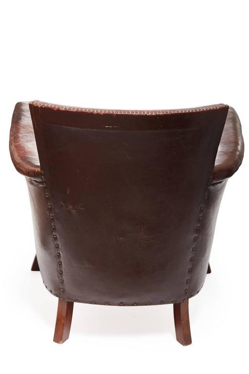 20th Century Otto Schulz Original Swedish Leather Armchair In Good Condition For Sale In Chicago, IL