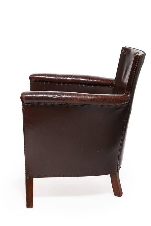 20th Century Otto Schulz Original Swedish Leather Armchair For Sale 1