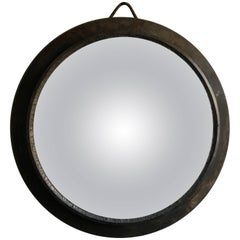 Early 20th Century Oversized European Metal Framed Convex Mirror