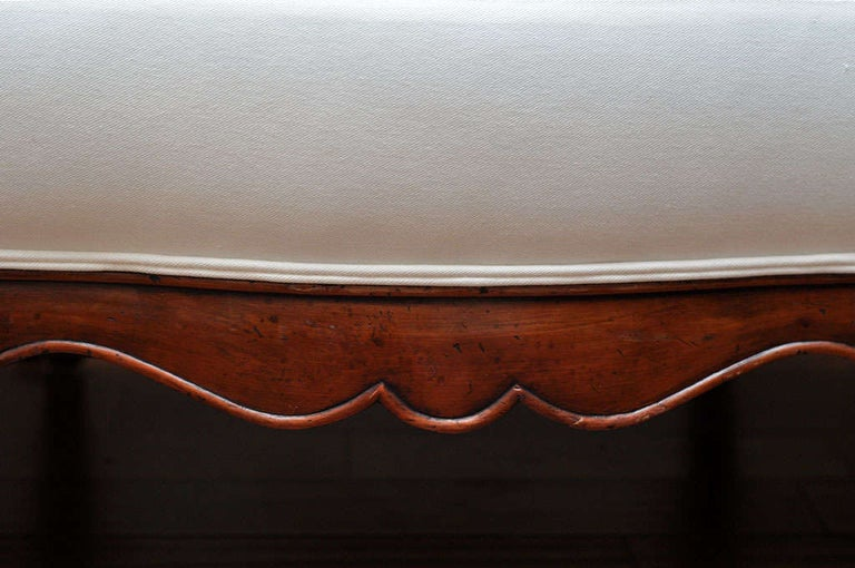 19th Century French Carved Wood and Upholstered Bench For Sale 2