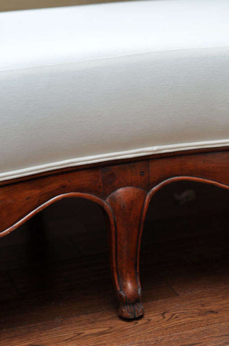 19th Century French Carved Wood and Upholstered Bench For Sale 3