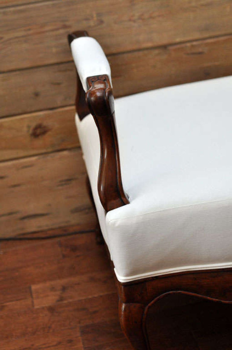 19th Century French Carved Wood and Upholstered Bench For Sale 4