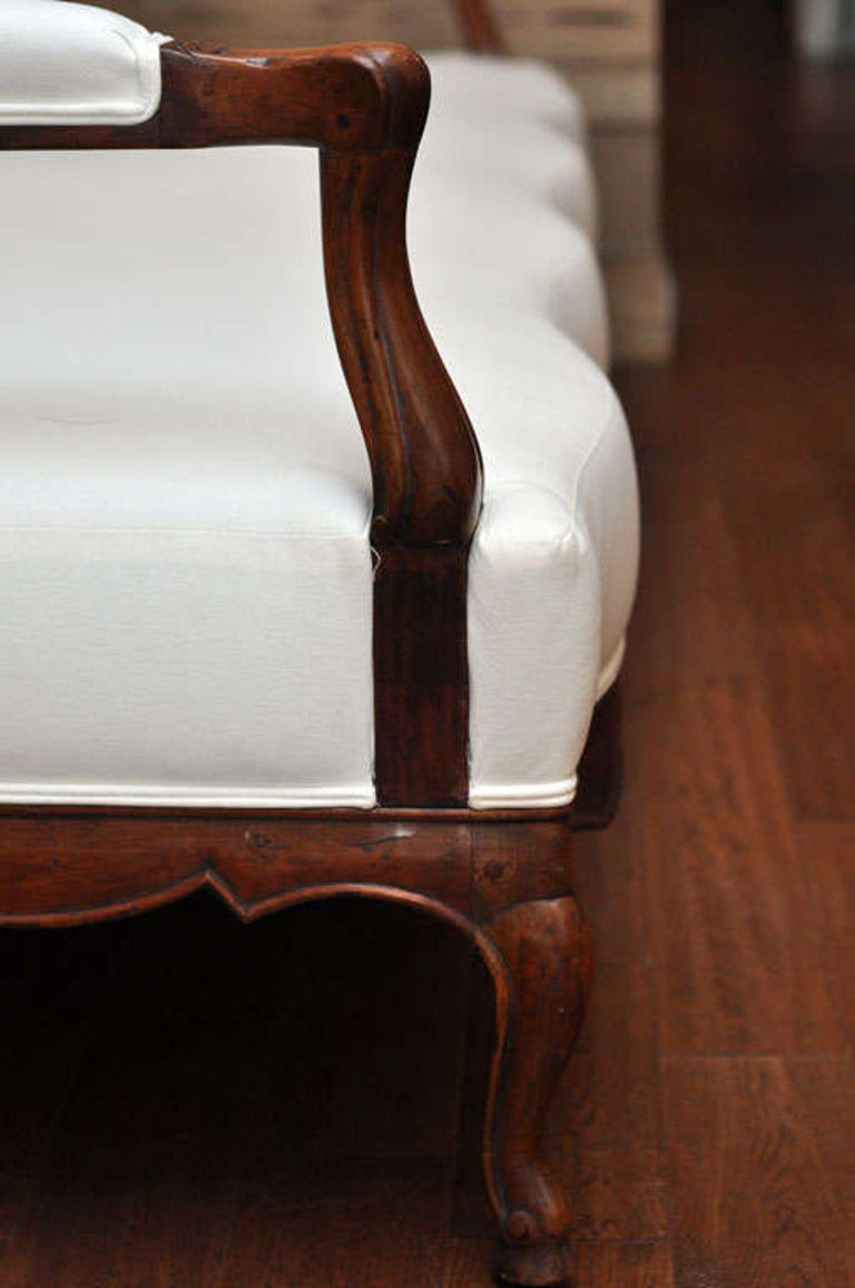 19th Century French Carved Wood and Upholstered Bench For Sale 5